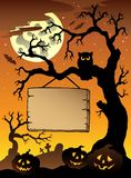 Scene with Halloween tree 1. Illustration Royalty Free Stock Photo