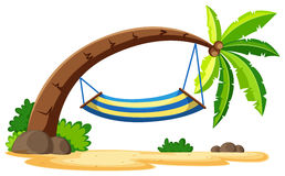 Scene with hammock on coconut tree Royalty Free Stock Images