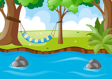 Scene with hammock on the tree Royalty Free Stock Photography