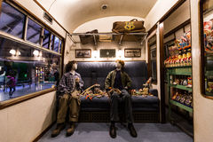 Scene from Harry Potter film inside Hogwarts express Stock Image