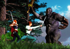 Scene of Heroes Battling Fighting Ancient Monster. Sword fighting with the monster in the woods Stock Image