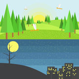 Scene Of Hills Day And Night.Flat Style Vector Design. Royalty Free Stock Photo