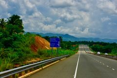A scene of hills from the highway. The beautiful scenes of hills from the highway in the Caribbean island of Jamaica stock photos
