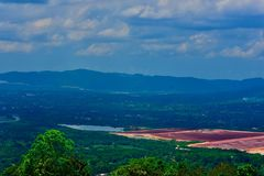 A scene of hills and valleys. The beautiful scenes of hill and valleys in the Caribbean island of Jamaica stock photos