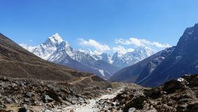 Scene of Himalaya mountain on the way to Everest base camp. stock images