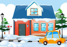 Scene with house and car covered by snow Stock Image