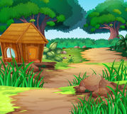 Scene with house in the woods. Illustration Royalty Free Stock Photo