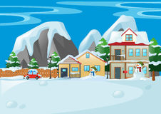 Scene with houses and snowman Royalty Free Stock Photos