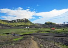 Hvanngil green valley in the highland and Myrdalsjokull glacier, part of the popular hiking trail Laugavegur, Iceland stock images