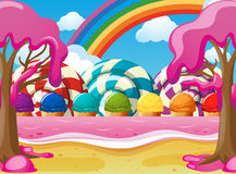 Scene with icecream and lolipops Stock Image