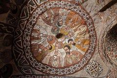 Scene iconografiche nella chiesa di Abuna Yemata in Etiopia fotografia stock libera da diritti