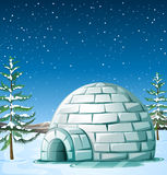 Scene with igloo on snowing day. Illustration Royalty Free Stock Photos