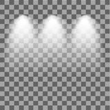 Scene illumination. Cold light effect. Stage illuminated spotlight on transparent background. Vector illustration. Royalty Free Stock Photography
