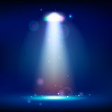 Scene illumination show, bright lighting with spotlights, floodl. Ight disco vector illustration Royalty Free Stock Images
