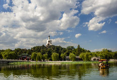 Scene of imperial park and boat Royalty Free Stock Photo