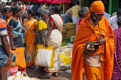 efed75947e Scene in an Indian flower market. Madurai, India - March 11, 2018: