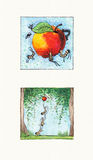 Scene with Insects. Watercolor illustrations of Insects Themes Royalty Free Stock Photo