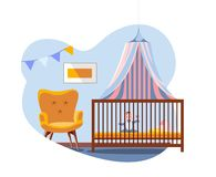 Scene in interior of the nursery. Baby in bed under a canopy next to soft comfortable chair. Boy`s Room is decorated with a flag royalty free illustration