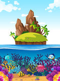 Scene with island and fish under the sea. Illustration Stock Image