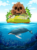 Scene with island and whale underwater Stock Images