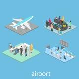 Scene isometriche dell'aeroporto Fotografia Stock Libera da Diritti