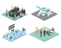 Scene isometriche dell'aeroporto Immagini Stock