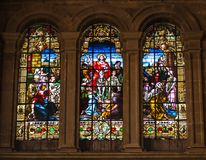 Scene of Jesus's triumphal entry into Jerusalem on stained glass. Malaga, Spain - March 5, 2017: Religious scene of  Jesus's triumphal entry into Stock Photo