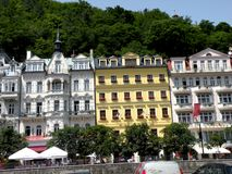 Scene in Karlovy Vary 3. In the 19th century, it became a popular tourist destination, especially known for international celebrities visiting for spa treatment Stock Images