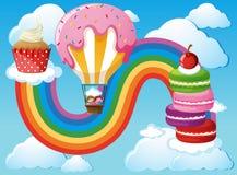 Scene with kids in balloon in sky Stock Image