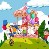 Scene with kids and clown at funpark Stock Image