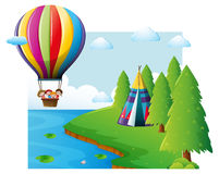 Scene with kids flying on balloon Stock Photography