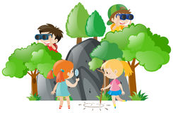 Scene with kids playing. Illustration Royalty Free Stock Photos