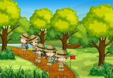 Scene with kids scouting the forest. Illustration Royalty Free Stock Image