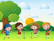 Scene with kids singing and playing music. Illustration Stock Images