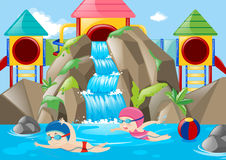 Scene with kids swimming in the water park Stock Photography