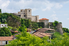 Scene with Kruja castle near Tirana, Albania Royalty Free Stock Photography