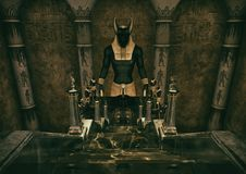 A scene with a ladder which leads to a huge statue of the Egyptian God Anubis.