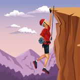 Scene landscape man hanging on the cliff anchored to the top rock climbing. Vector illustration Royalty Free Stock Photo