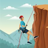 Scene landscape man mountain descent with equipment rock climbing. Vector illustration Royalty Free Stock Image