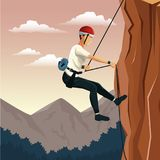 Scene landscape man mountain descent with harness rock climbing. Vector illustration Royalty Free Stock Photography