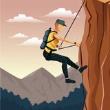 Scene landscape man mountain descent with harness rock climbing. Vector illustration royalty free illustration