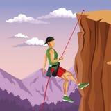 Scene landscape man mountain descent rock climbing. Vector illustration stock illustration