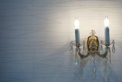 Lighting of the room. Scene of the lighting of the wall of the room Royalty Free Stock Image