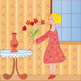 Scene with little girl in the room Stock Image