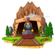 Scene with locomotive on railroad. Illustration Stock Image