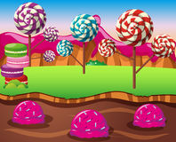 Scene with lolipops field and icecream river Royalty Free Stock Photo