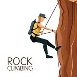 Scene man mountain descent with harness rock climbing. Vector illustration Royalty Free Stock Photos