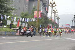 The scene of the marathon race ,Run in the team in front of the player Stock Photo