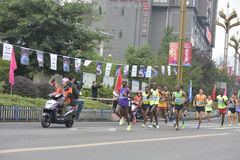 The scene of the marathon race ,Run in the team in front of the player Stock Photos