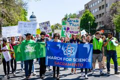 Scene from the March for Science 2018 taking place in Sacramento, California Royalty Free Stock Images